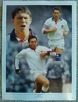 Rory Underwood Genuine Hand Signed England Rugby Photo AFTAL COA