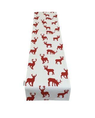 Christmas TABLE RUNNER Silver Dove Grey & White Stag, deer Xmas fully lined