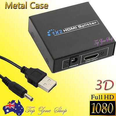 HDMI Splitter Amplifier 1 In 2 Out Duplicator Full HD 1080p 3D V1.4 DVD