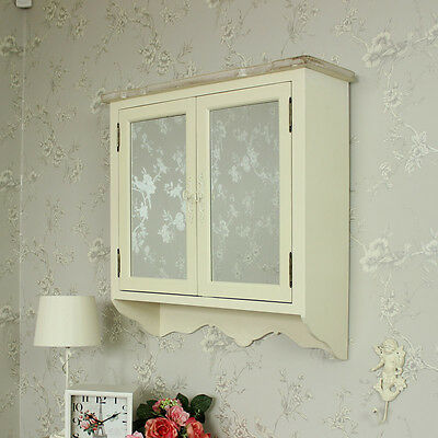 Cream wooden mirrored wall cabinet shabby vintage chic country bathroom storage