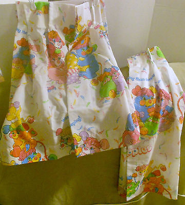 """POPPLES 1986 American Greetings CURTAINS Valance Topper 2 pcs 48"""" x 27"""" Total"""