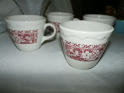 Lot of 4 Syracuse China Strawberry Hill coffee cups red floral restaurant ware