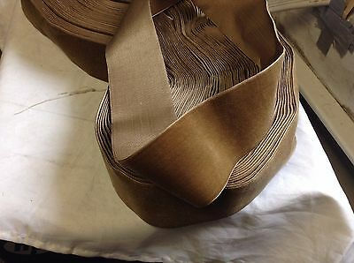 "4 Yards 2 1/4"" Brown HANK Antique/Vintage Silk Rayon Satin Back Velvet Ribbon"