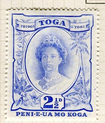 TONGA;  1942 early Queen Salote issue fine Mint hinged 2.5d. value