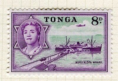 TONGA;  1953 early Queen Salote issue fine Mint hinged 8d. value