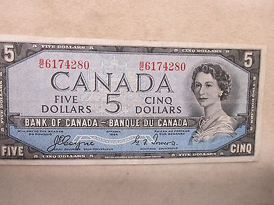 1954 Canada $5 Five Dollar Bill Bank Of Canada  Great Condition