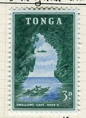 TONGA;  1953 early Queen Salote issue fine Mint hinged 3d. value