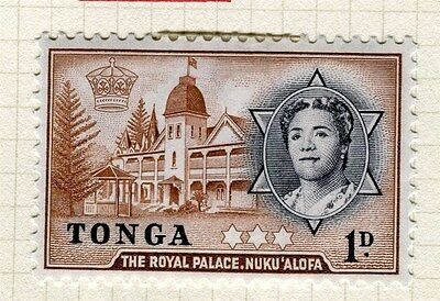 TONGA;  1953 early Queen Salote issue fine Mint hinged 1d. value