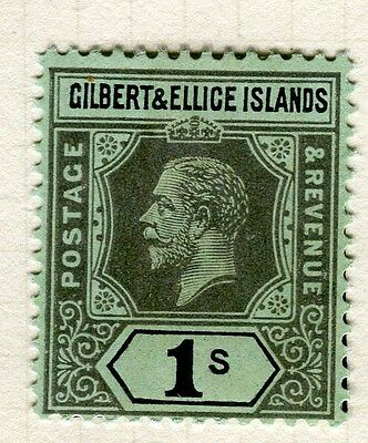 GILBERT ELLICE ISLANDS;  1912 early GV issue fine Mint hinged 1s. value
