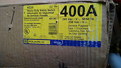 Square D H325 400amp 240v 3 phase fusible fused disconnect switch  NEW!
