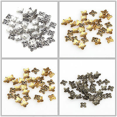 100pcs 6mm Leaf Bead Caps Retro Silver/Golden/Bronze Tone for Jewelry Making
