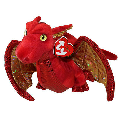 TY Classic Plush - FOSSILS the Red Dragon - MWMT's