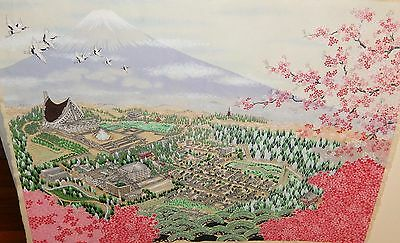 Japanese Old Original Watercolor Fuji Mountain Landscape Painting Unsigned