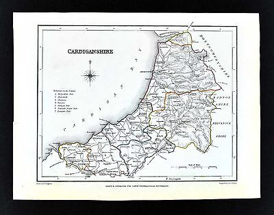 1831 Lewis Map Wales Cardiganshire County Cardigan Tregaron Aberystwith Lampeter
