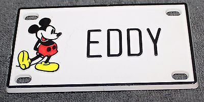 Vintage Walt Disney Prod. Mickey Mouse Name Eddy Plastic License Plate