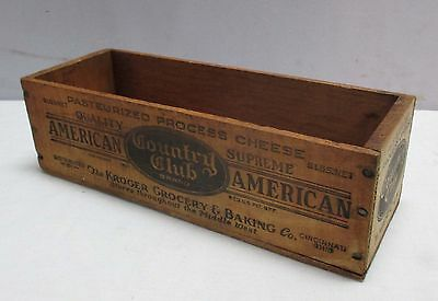 """Vtg.""""The Kroger Grocery & Baking Co."""" 1921 Cinti.Oh Wood Store Cheese Box (#3a)"""