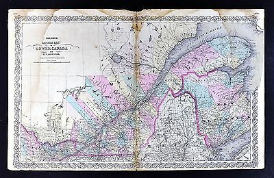 1866 Colton Atlas Map Canada East - Lower Canada Quebec Montreal New Brunswick