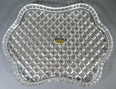Vintage Polonia 24% lead crystal/glass dressing table tray display Poland