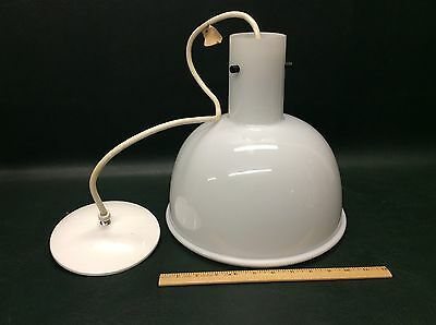 Rare Mid Century Modern Lightolier White Pendant Light Chandelier Shade