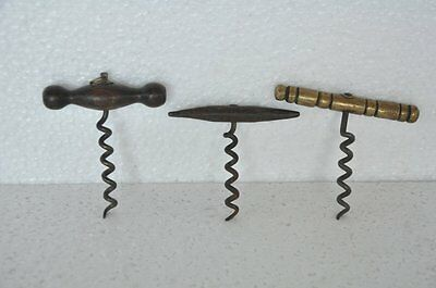 3 Pc Old Wooden,Brass & Iron  Victorian Handcrafted Unique Cork Screw / Opener