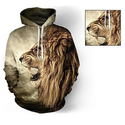 lion 3d poche imprim pull sweat capuche pull over veste surv tement eur 13 31 picclick fr. Black Bedroom Furniture Sets. Home Design Ideas