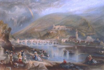 """THE TOWN AND CASTLE OF HEIDELBERG.""""  Drawn by J.M.W. Turner / Engraved A. Prior"""