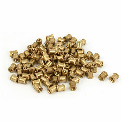 M3 x 4mm x 5mm Female Threaded Insert Embedded Brass Knurled Nut Fastener 100pcs