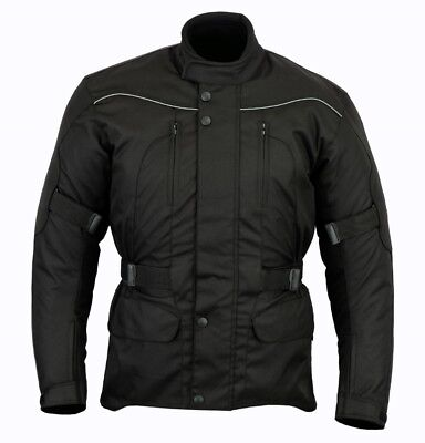 All Black Waterproof Motorcycle / Motorbike Jacket With Removable Armour - M-6XL