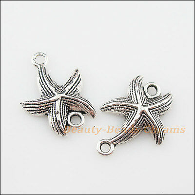10Pcs Tibetan Silver Tone Starfish Charms Pendants Connectors 17x23mm