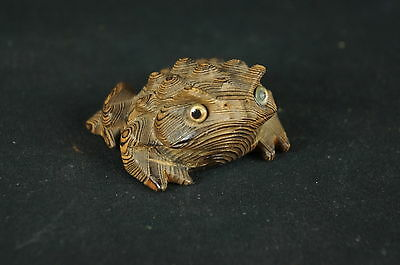 Vintage Japan Hand-Carved Frog Cryptomeria Wood Figure Horny Toad [Y8-W1-A8-E8]
