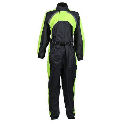 Black / Hi-Vis Waterproof Motorcycle / Motorbike Rain Over Suit Sizes M-5XL