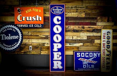 Classic Cooper 50's Tire Sign Tin Gas Oil Station EARLY Tires RARE NOS Advert.