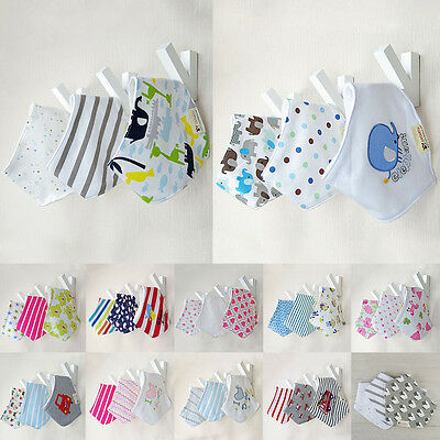 3pcs Triangle Baby Kids Bandana Bibs Boy Girls Head Scarf Saliva Towel Dribble