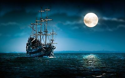 Old Pirate Ship Moonlight 8X10 Glossy Photo Picture Image #2