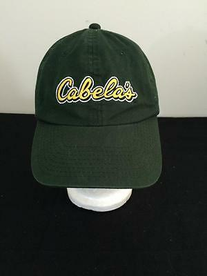 7315b868a5d Cabelas hat green yellow embroidered cotton ball cap one size adjustable