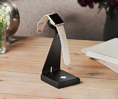 Solid Base Aluminum Desktop Station Charger Stand for Apple Watch iWatch (Black)