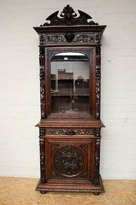 1111015 : Antique French Renaissance Hunt Narrow Single Door Bookcase Cabinet