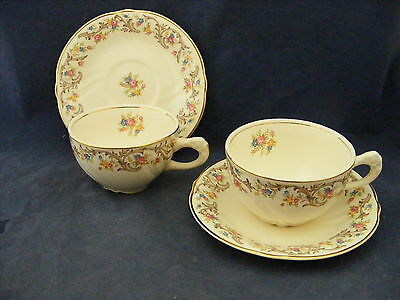 2 TST Taylor Smith Taylor Cups & Saucers Gold Trim Brown Scrolls Multi Flowers