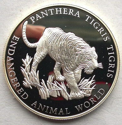 Uganda 1999 Tiger 1000 Shillings Silver Coin,Proof