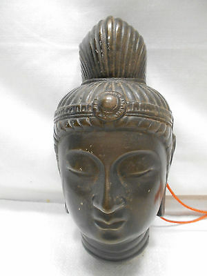 Mask Japanese Cast Metal Vintage Theatrical Hand Made Unique Wall Plaque  #149