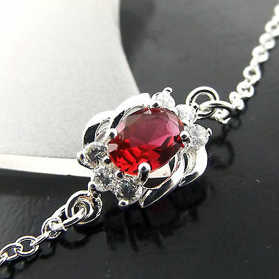 A432  Genuine Real 925 Sterling Silver S/f Solid Ladies Ruby Xl Bracelet Anklet