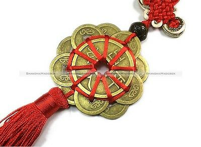 Feng Shui Chinese Oriental Lucky Tied I Ching Money Coin Charm Red Tassel S3