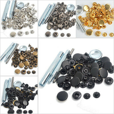 Snap Fasteners 10/12.5/1517mm 15 Sets Press Studs Kit Poppers Buttons w/Tool UK