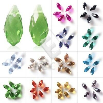 10pcs Premium Teardrop Crystal Bead Center Drilled Faceted Spacer Beads 6/8mm