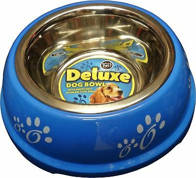 New Stainless Steel Dog Pet Dogs Cat Feeding Bowl 0.7L Removable Dish Blue