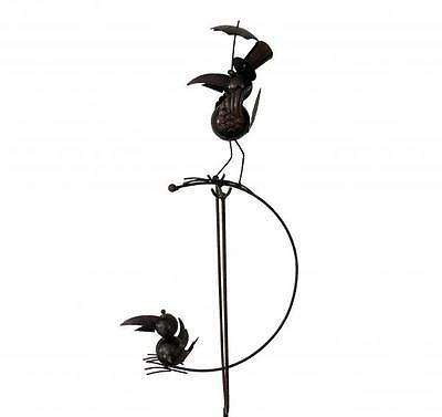 Rocking Balancing Birds with Top Hat Metal Garden Wind Spinner Ornament