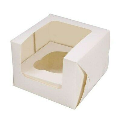 Single White Cupcake box & insert with window x 25  muffin box Next Day Despatch