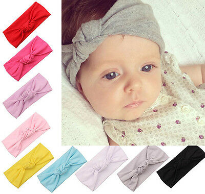Baby Toddler Kids Girls Bow Hairband Turban Knot Cotton Cute Headband Headwear