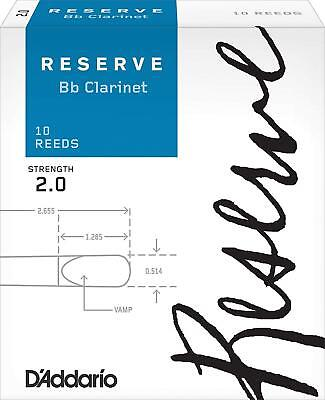 D'Addario DCR1020 Strength 2.0 Reserve Bb Clarinet Reeds (Pack of 10)