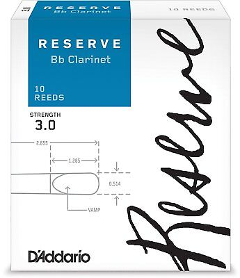 D'Addario DCR1030 Strength 3.0 Reserve Bb Clarinet Reeds (Pack of 10)
